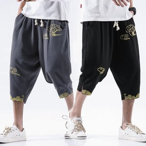 Chinese style linen casual shorts with cloud embroidery cotton and pendant feeling seven minutes pants