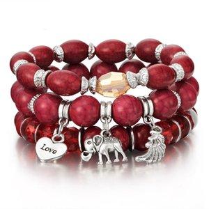 Diseñador de pulsera 3-4 canto rodado, las mujeres y los brazaletes con el encanto de boro, un conjunto de joyas de lujo de verano, pulseras de moda para las muje