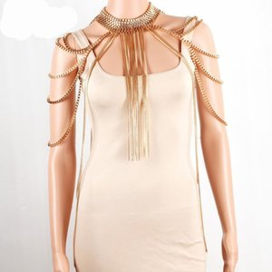 Ombro Chran Sexy Body Armor Big cachecol pendant Ladies Bib Gargantilha Colar de Ouro prata banhado Harness Slave Box cadeia de jóias