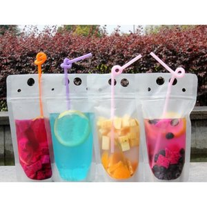 100pcs clear drink pouches bags frosted zipper stand-up plastic drinking bag with straw with holder reclosable heat-proof 500ml