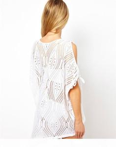 New Women's Sexy Bathing Suit Hollow Strap Off Shoulder Crochet Beach Swimwear Bikini Cover-Ups Dress Black White 10Pcs Lot Free Shippi