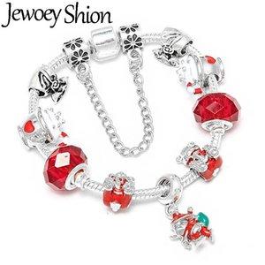 Jewoey شيون لطيف سانتا الدب صالح الفضة مطلي سحر سوار للنساء diy أزياء ماركة أساور مجوهرات هدية عيد
