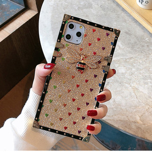 Luxury Glitter Square Phone Case Fashion Bee Cover for iPhone 12 Mini 11 Pro Max X XS XR 7 8 Plus Protective Shell