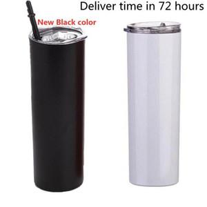 Sublimação magro copos 20 onças copo magro preto branco com palha tampa 20 onças vácuo inoxidável copo bebendo aço isolado Caneca LXL1424-1