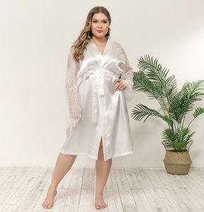 زائد الحجم 1xl-4xl النساء الملابس desinger إمرأة الجلباب النوم اللباس مثير مثير الدانتيل باس النوم ثوب النوم منامة