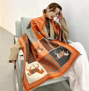 2020 Inverno donne sciarpa sciarpa di cachemire nuovo modo caldo Foulard Lady cavallo sciarpe multicolori molli spessi Scialli Wraps