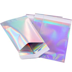 Büyük boy Lazer Kendinden mühür Yapışkan Kozmetik Paketi Çanta Takı Temizle Ön Holografik Alüminyum Folyo Zarf Posta Çanta Kılıfı