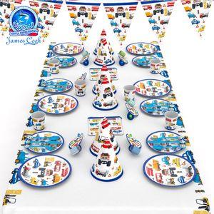 Cook macchina di ingegneria blu cartone animato atmosfera rifornimenti versione partito decorazione e Cook auto blu di ingegneria dei cartoni animati rifornimenti versione del partito