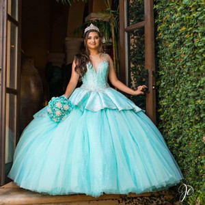 Tiffany Blue Quinceanera Dresses Crew Neck Bead Top Ruched Satin and Tulle Skirt Girls Sweet 15 Prom Dress