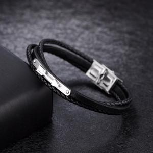 2019 Простые моды Плетеный Многослойной титана стали Стрелка кожаный браслет браслеты для мужчин 2019 Простые купоны Интернет wmtILD otsweet