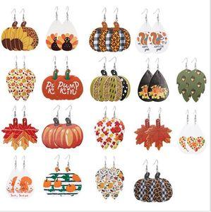 Pumpkin Earring PU Leather Drop Earrings Female Halloween Spider's web Earring Women Vintage Earring Jewelry Gifts 18 Designs WY869w