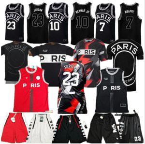 2021 футбол Джерси 23 Майкл JD 10 Neymay JR 7 MBAPPE Paris Баскетбол Джетки спортивные черные падения