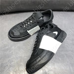 Calfskin VL7N Sneaker com bandas Preto / Branco Plataforma Lace-up Sapatos Casuais De Couro Designer Treinadores Sapatos
