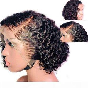 13x6 Parte profunda Bob Pixie Cut Peluca Preplucidada Peluche Fake Fake Malassian Frente de encaje humano Pelucas de pelo humano Remy Short Curly Wig para mujeres negras