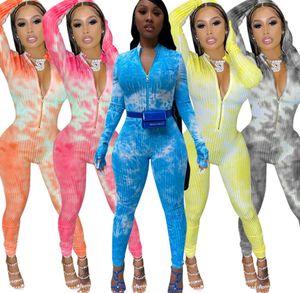 Femmes sexy Onesies Desinger Jumpsuit barboteuses Tie Dyed Imprimer Slim à manches longues Zipper Avslappnad pantalon long One Piece Vêtements
