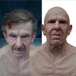 New Halloween New Grandpa Wig Old Man Mask Headgear Bald Old Man Horror Mask GD738