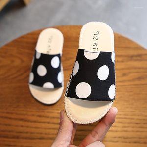 Children Slippers For Boy Girl Polka Dot Linen Shoes Summer Infant Flip Flops Baby Indoor Slipper New1