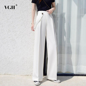 VGH Irregular Wide Leg Pants For Women High Waist Straight Casual Loose Trousers Female Fashion New Clothing 2020 Tide Autumn