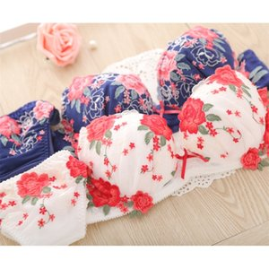 2019 European sexy underwear embroidery flower mesh deep V on the girl lady bra set 2044 Y200708