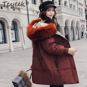 Tcyeek Casual Winter Down Jacket Women Long Down Coat Female Thick Warm Clothes Real Raccoon Fur Hooded Coats Ladies 2020 LW1104