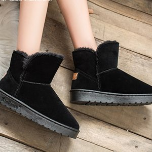 High Quality Women Snow Boots Cowhide Leather Boots Warm Winter Boots Felame shoes large size 34-44 201106