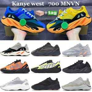 Novo Bright Sun Runner Kanye 700 Executando Sneakers OG Cinza Sólido Inércia De Inércia Estática Laranja Negro Osso Reflexivo Homens Mulheres Sapatos