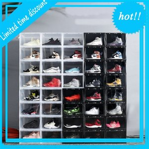 1pc box to door Display Drop Front Basketball case men women clear transparent sneaker storage acrylic shoe boxes With Magnet