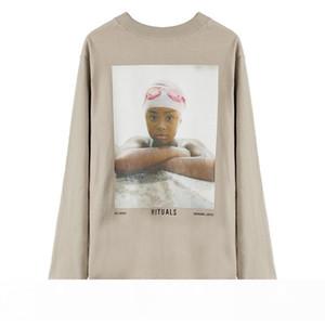 FEEAR OFF GOOD 6th Retro Portrait Printing Long Sleeve Tee High Street Fashion Shirts Couple Women Mens Light Tan 4 Style T-shirt HFXHTX340