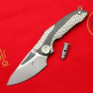 Venom ZIRH M390 bıçak açık kamp av sağkalım cebi mutfak meyve katlama Titanyum CF Flipper bıçağı EDC araçları bıçaklar