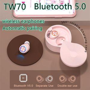 2020 New TWS TW70 Wireless Bluetooth earphones Touch Bluetooth Headphones 5.0 portable Waterproof Sports earbuds