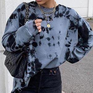 Streetwear Autumn Winter 2021 New Tie dye Long Sleeve Harajuku Streetwear Sweatshirts Women Pullovers Clothes S-2XL