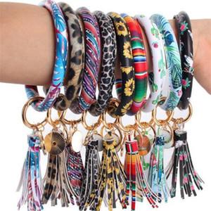 46styles Leather Bracelet Key Chain PU Wristr Round Key Ring Tassel Pendant Leopard Bufflao Wristband Keychain Bracelets Key Rings z385