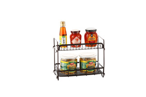 Stainless steel kitchen utensils and condiments Black lacquered table top multi-layer condiments kitchen storage floor shelf