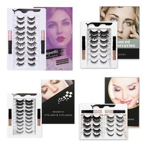 EPACK 10 Pairs Manyetik Kirpikler Yanlış Lashes + Sıvı Eyeliner + Cımbız Göz Makyaj Seti 3D Magnet Yanlış Kirpikler Hiçbir Tutkal Gerekli DH