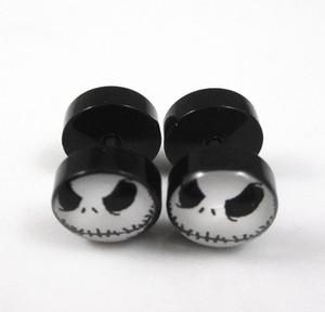 2pcs Jack Skellington Stainless Steel Fake Plug Stud Earrings Screw Back 10mm Stud