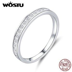 WOSTU 100% 925 Sterling Silver anelli di barretta per il design semplice delle signore delle ragazze con brillante zircone gioielli da sposa Anello Donna