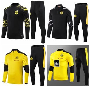 Giacca da calcio Borussia Tracksuit Giacca da calcio Full Zipper Giacca Dortmund Tracksuit Training Giacca da calcio Set Set di superstement Tute