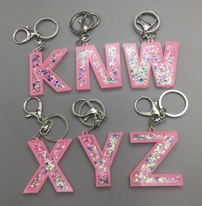 Sequins 26 English letters Key Ring Glitter Alphabet A-Z Keychain with Metal Clip Circle Bag Pendant Key Holder Christmas Gifts DHF2510