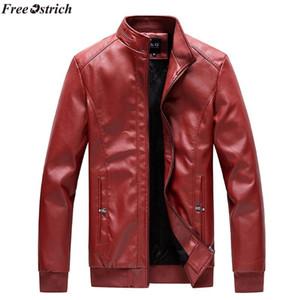 FREE OSTRICH Men Jacket 2020 Men's Autumn Winter Vintage Zipper Stand Collar Imitation Jacket Leather Coat,Windproof