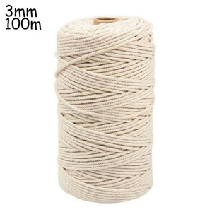 Natural Beige Cotton Twisted Cord Rope Artisan Macrame String DIY Craft For Making Different Kind Of Crafts, Including Wall Hang