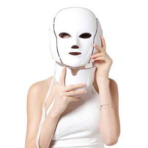 7 Colors Light Led Face Mask with Neck Skin Rejuvenation Wrinkle Acne Removal Photon Therapy Face Mask Machine Galvanic Spa