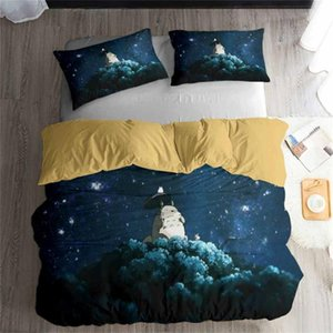 HELENGILI 3D Bedding Set Totoro Campus Badge Print Duvet Cover Set Bedcloth with Pillowcase Bed Home Textiles #LM-05