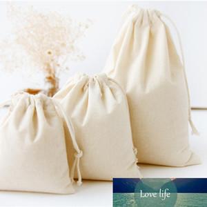DIY viaje algodón de lino con cordón bolsas de almacenamiento de artículos diversos pequeño haz de cuerda hecha a mano bolsas caramelo bolsa de regalo de los cabritos juega al organizador