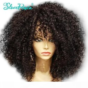 Glueless Brazilian Remy Human Hair Afro Kinky Curly Pre Plucked 4*4 Lace Closure Wig For Black Women 150% Full End Slove Rosa Y190713