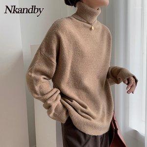 Nkandby Turtleneck шерсть женские свитера 2020 осень зима мода свободный корейский пуловер перемычки повседневные женские трикотажные топы1