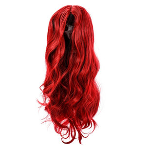 High-temperature Matt Synthetic Fiber Lace Front Big Curly Wigs for The Long Curve Natural Matt Hairpiece Passionate Wine Red W9315