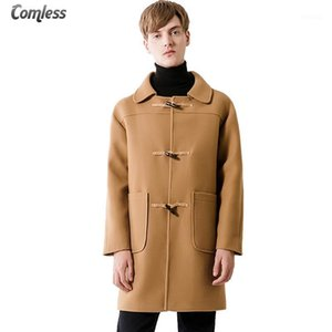Toptan-erkek Uzun Kore Trençkot 2017 Kış Kalın Trençkot Erkekler Boynuz Düğme Bezelye Ceket Palto Rahat Slim Fit Windbreaker XXXL1