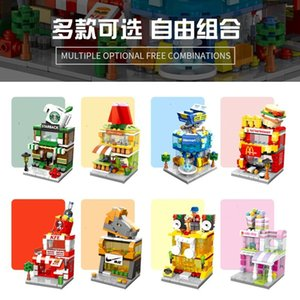 2Building blocks mini street view urban commercial street building model children boys and girls puzzle assembly stall toy puzzle