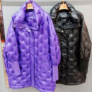 HWLZLTZHT Glossy Women Winter Parkas Lightweight Down Jacket Ladies Long Winter Coat Warm Cotton Jackets Plus Size Outwear 201023