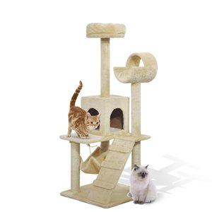 "52"" Cat Tree Scratching Tower Post Condo Pet Kitty House Scratch Furniture 5Brec"